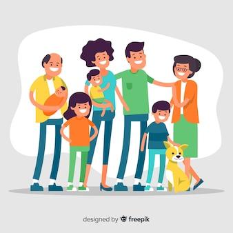 手描きの大家族の肖像画