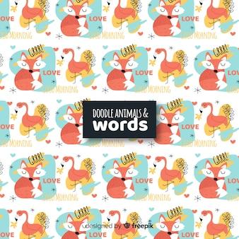 Смешные каракули животных и слова шаблон