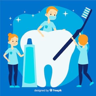 歯の背景の世話をしてフラット歯科医
