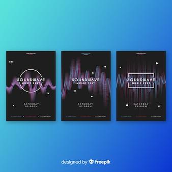 Волна звуковая коллекция плакатов