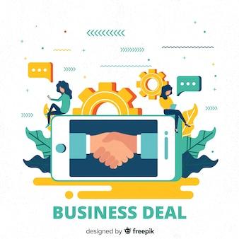 平らなビジネス取引の概念