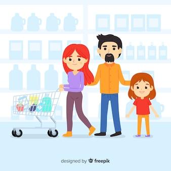 手描きの人がスーパーマーケットのバックグラウンドで購入