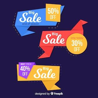 Красочные баннеры продаж оригами