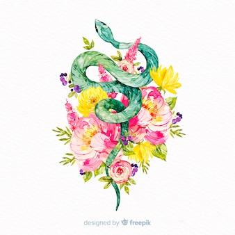花の背景を持つ水彩画のカラフルなヘビ