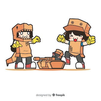 Рисованной люди играют в картонные костюмы