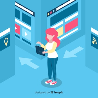 Плоская женщина, используя фон электронного устройства