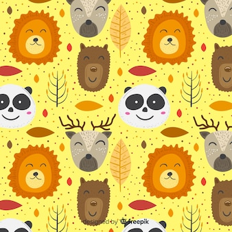 Красочные каракули, улыбаясь животных шаблон