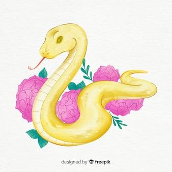 手描きの花と蛇の図