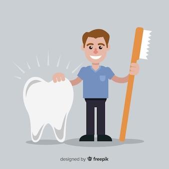 平らな歯科医の文字