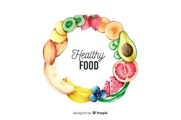 手描きの野菜と果物の丸枠