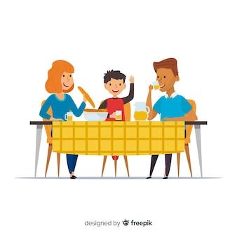 手描き家族一緒に食べる