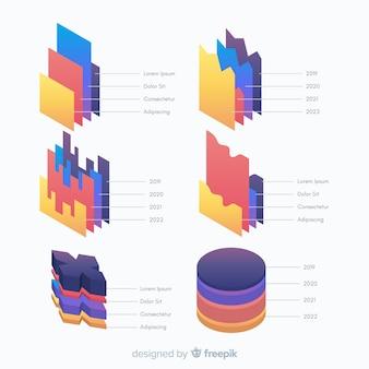 等尺性インフォグラフィック要素テンプレート