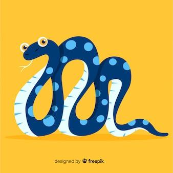 手描きの点線蛇イラスト