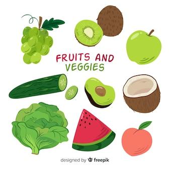 Коллекция рисованной фруктов и овощей