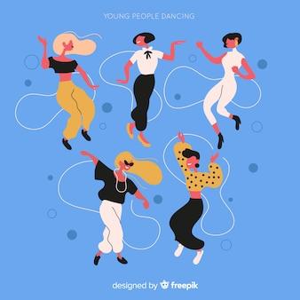 Нарисованный рукой комплект танцев девушки