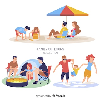手描き家族屋外の状況パック