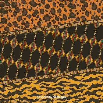 アフリカの布と動物の皮の背景