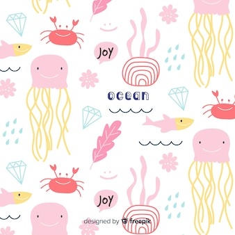 カラフルな落書き海の動物と言葉のパターン