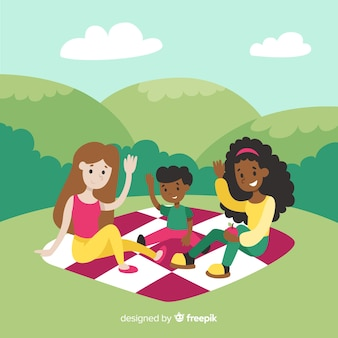 ピクニックイラストを持っている手描き家族