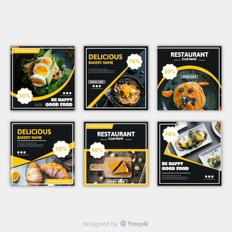 Плоский квадратный пищевой фотографический баннер