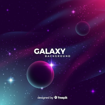 Реалистичная галактика с фоном планет
