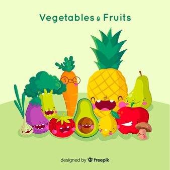 手描きの面白い果物と野菜の背景