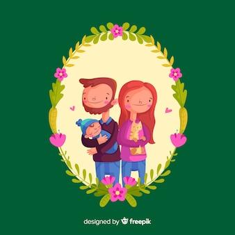 花のフレームと手描きの家族の肖像画