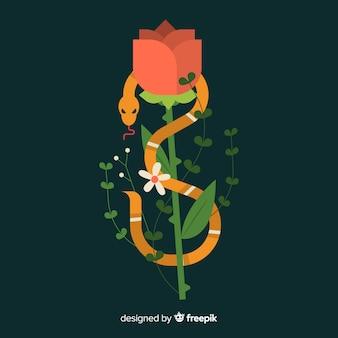 バラの背景に傷つけられたフラットヘビ