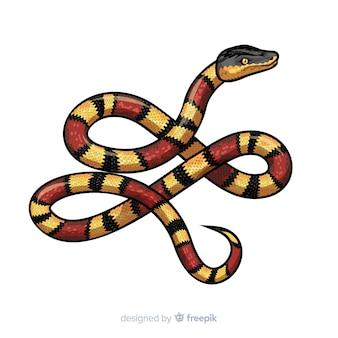 手描きのリアルなヘビの背景