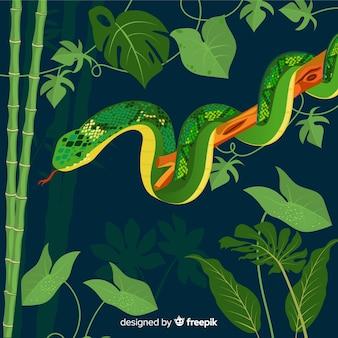 手の描かれたヘビは木の背景に負傷しました