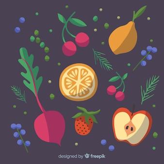 Темный рисованной свежие фрукты и овощи фон