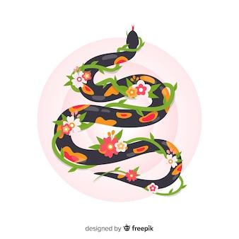 つるの背景を持つフラットヘビ