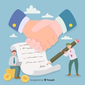 Нарисованная рукой концепция коммерческой сделки