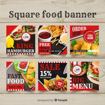 平らな正方形の食べ物写真バナー