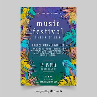 Шаблон плаката фестиваля винтажной тропической музыки