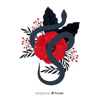 手描きの蛇の背景