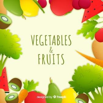 Нарисованная рукой предпосылка рамки свежих фруктов и овощей