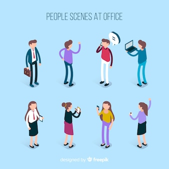 Положение людей в офисе изометрической коллекции