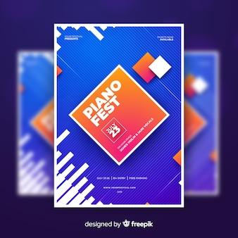 Красочный абстрактный музыкальный фестиваль постер шаблон