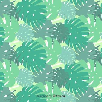 オーバーラップモンステラの葉の背景