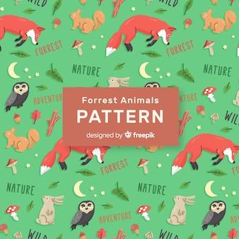 Красочный рисунок лесных животных и слова шаблон