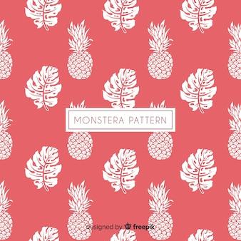 手描きモンステラの葉とパイナップルの背景