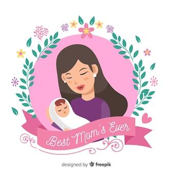 彼女の赤ちゃんの背景を抱いて母の日母