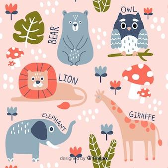 カラフルな落書き動物と言葉のパターン
