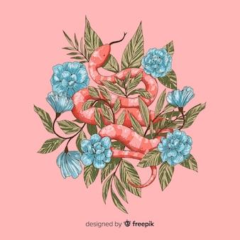 Рисованная змея с розами