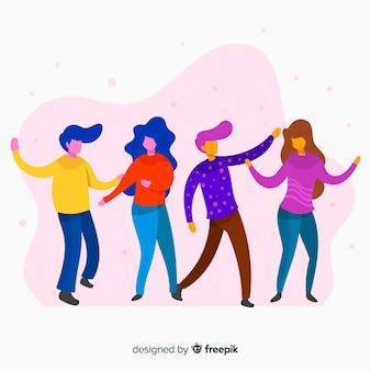 手描きの人々のダンスセット