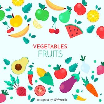 フラットの果物と野菜の背景