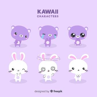 Коллекция рисованной животных каваи