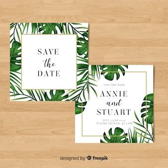 ヤシの葉の結婚式の招待状のテンプレート