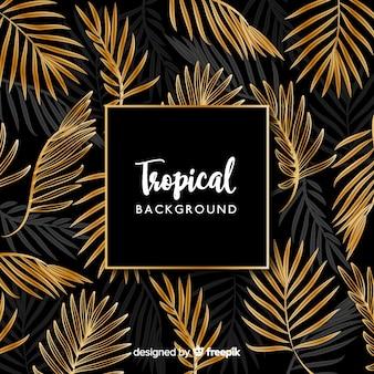 Фон черный и золотой тропический листья